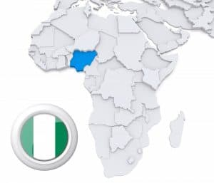 Nigeria on Africa map