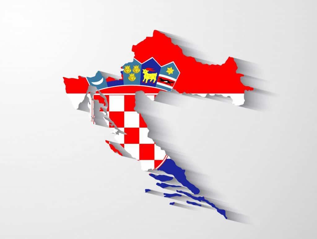 Croatia map Europe Schengen with flag