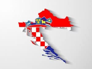 Croatia map Europe Schengen with flag