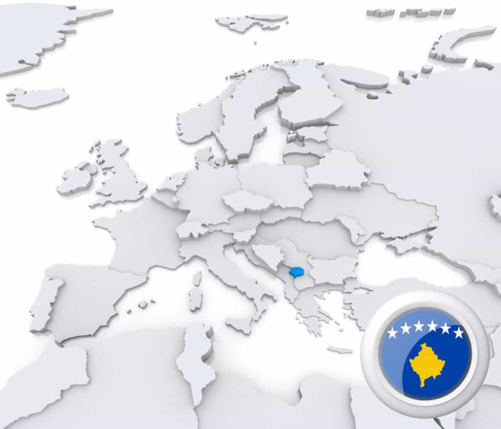 Kosovo on map of Europe