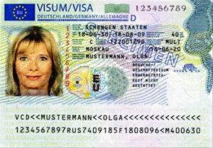 new Schengen Visa Sticker Front