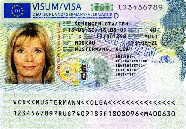 new Schengen Visa Sticker Front