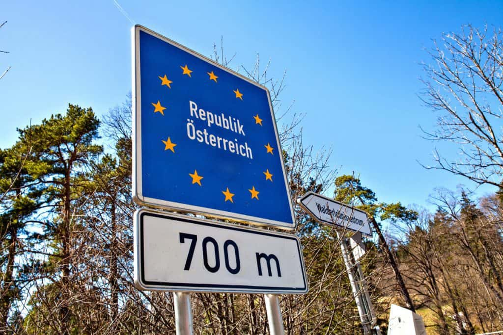 National border roadsign entering Austria