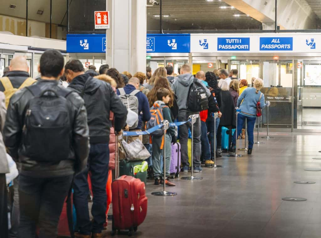 Long immigration queue at Malpensa Airport in Milan non-Schengen Travellers