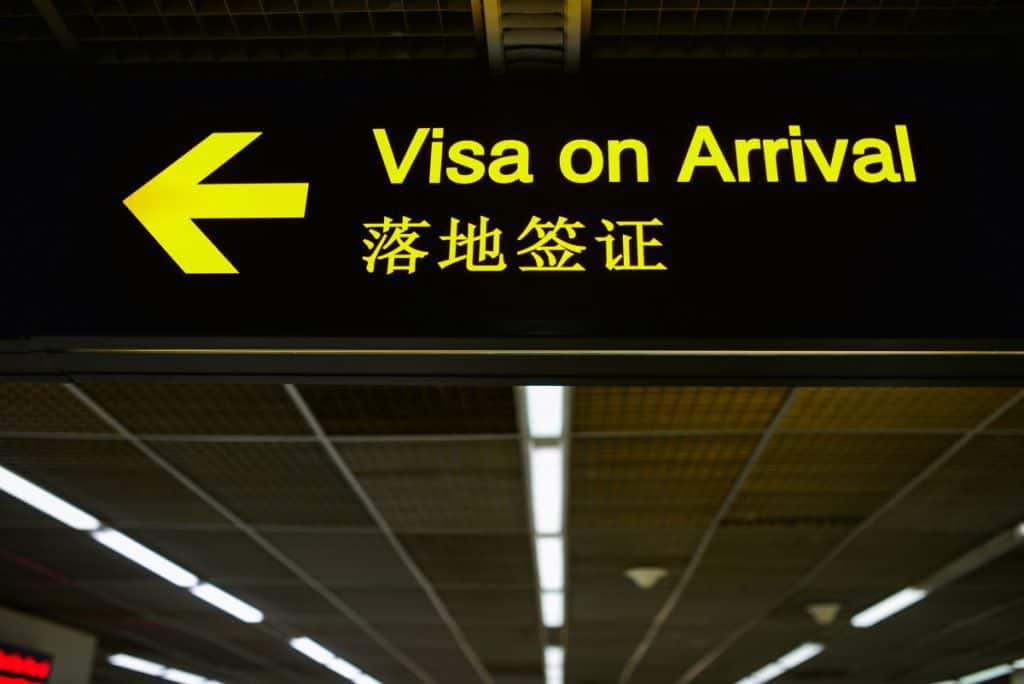 Visa on arrival China chinese